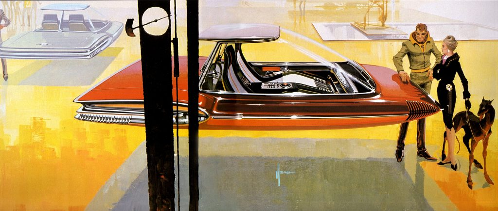 Showroom illustratie van Syd Mead